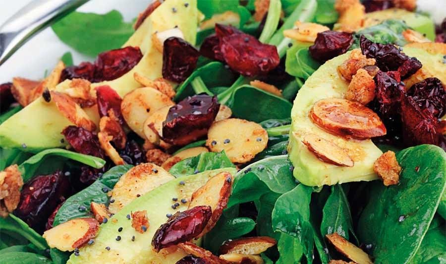 Σαλάτα με σπανάκι, ρόκα, αβοκάντο και αποξηραμένα κράνμπερις